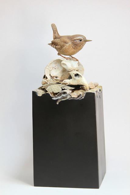 Winter Wren and Great Horned Owl skull Tupelo carving Sold