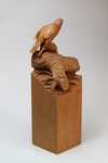 miniature goshawk and grouse, natural cherry finish sold