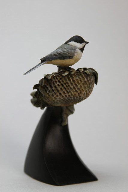 Black-capped Chickadee and Sunflower SOLD